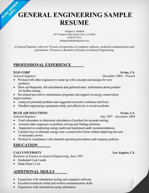 general engineering resume sample resumecompanioncom - Product Safety Engineer Sample Resume