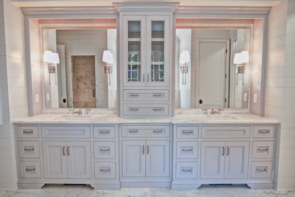 Gorgeous Double Vanity With Center Tower For Extra Storage By Johnson Custom Cabinets Inc W Bathroom Storage Tower Master Bathroom Vanity Master Bath Vanity