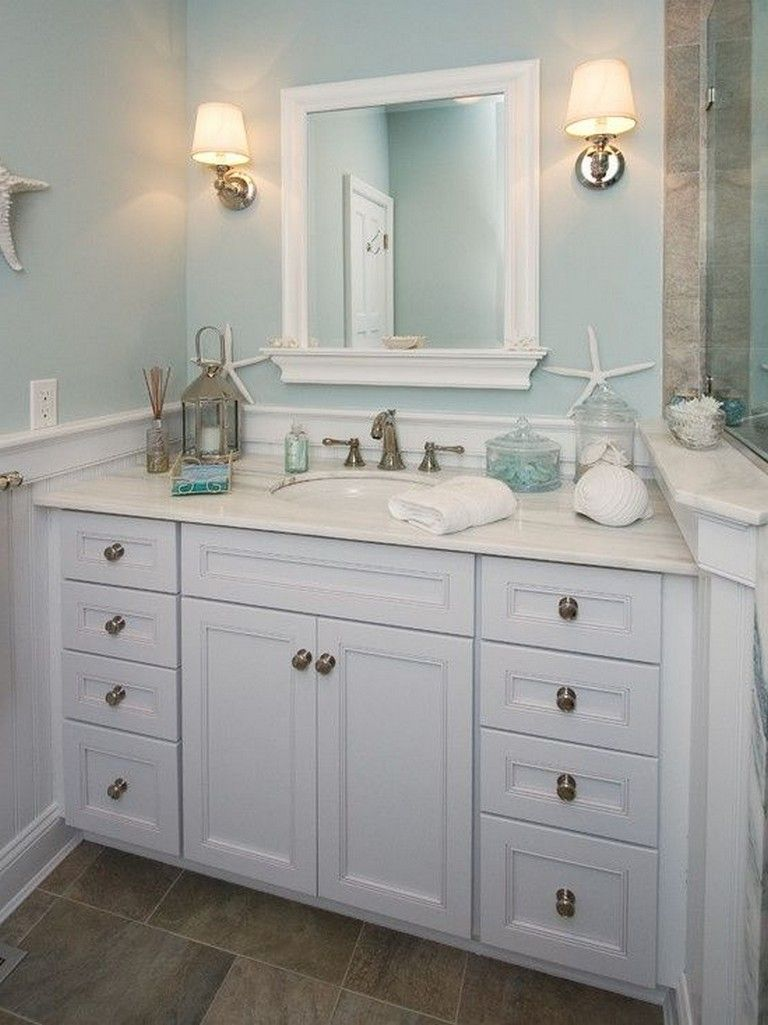 20 Amazing Beach Coastal Decor Ideas Inspired Home Decor Beachdecor Homedecor Homedecor Coastal Bathroom Decor Coastal Bathroom Design Ocean Bathroom Decor