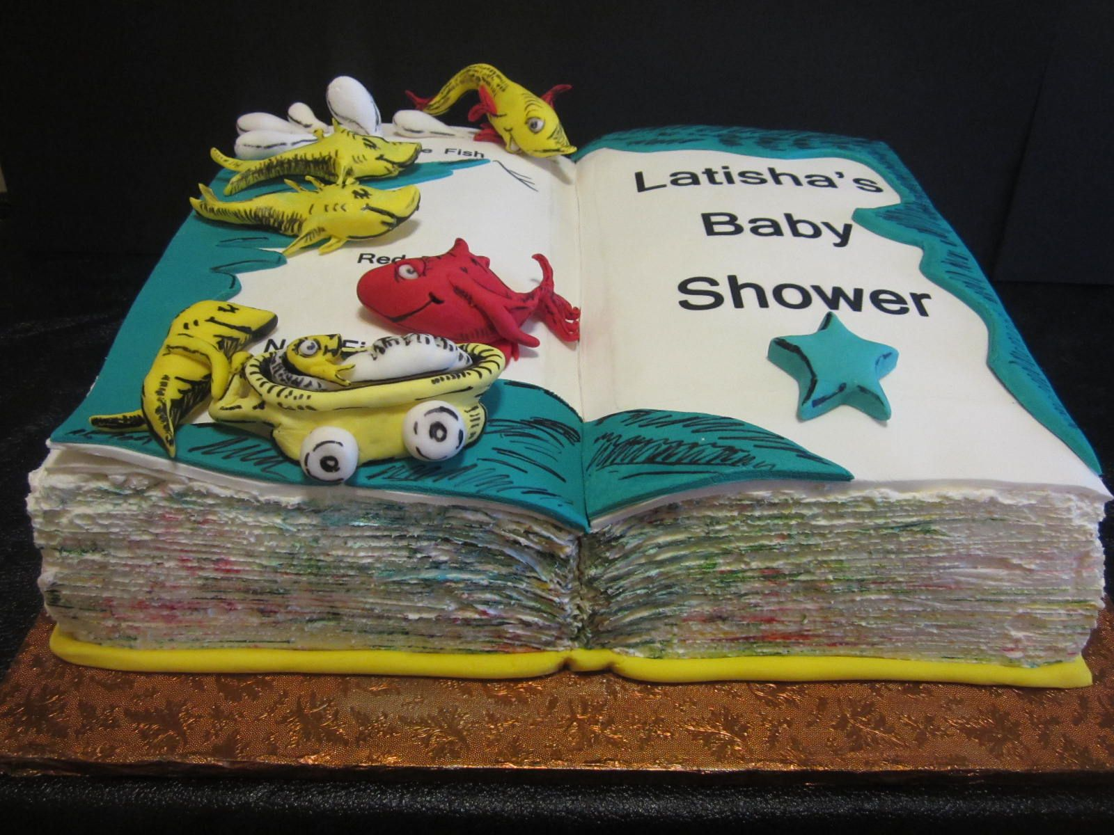 Dr Suess inspired 1fish 2fish red fish new fish Baby Shower Cake