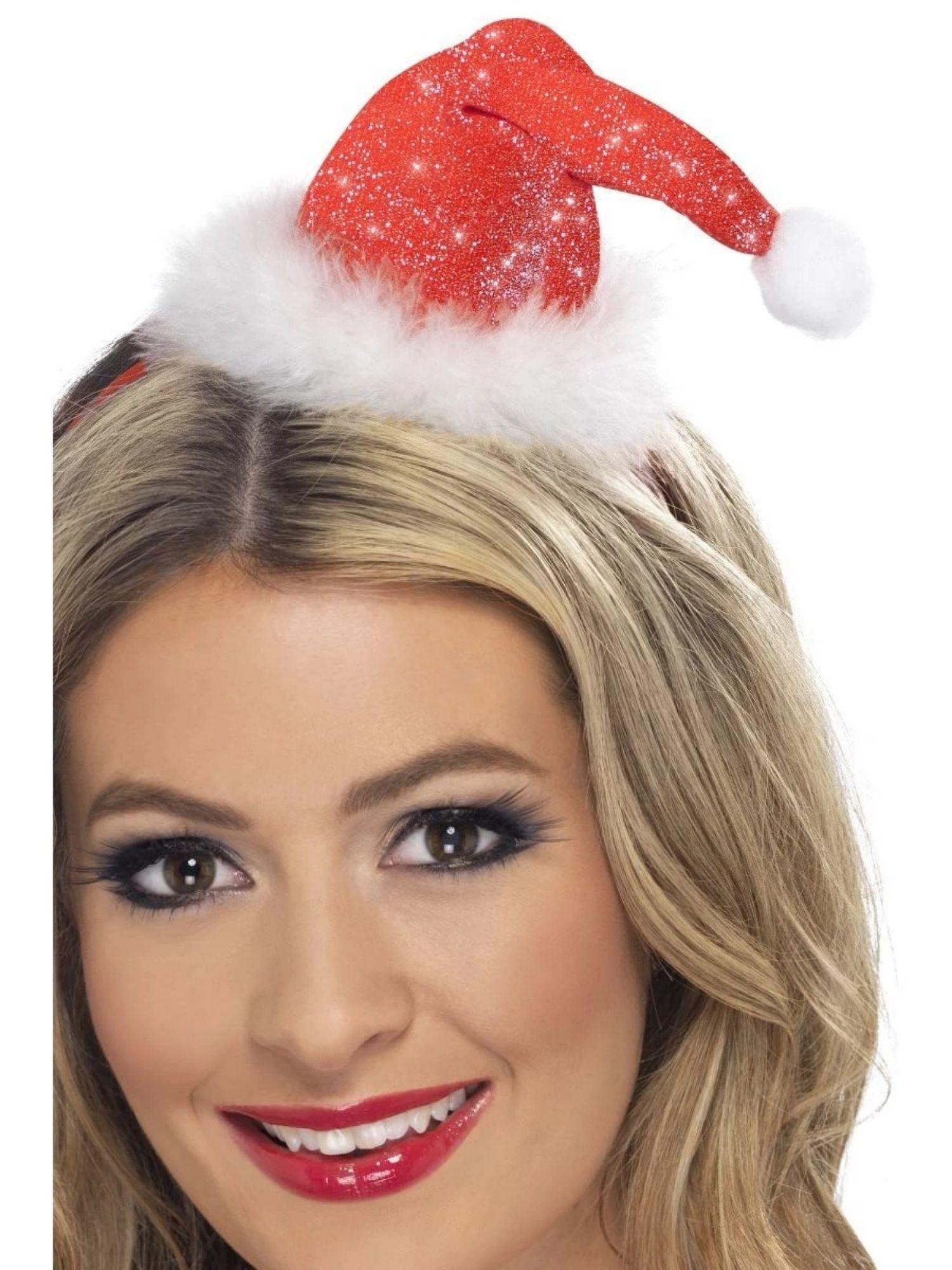 SANTA CLAUS HAT HEADBAND CHRISTMAS MINI RED WHITE XMAS WOMENS LADIES FANCY DRESS