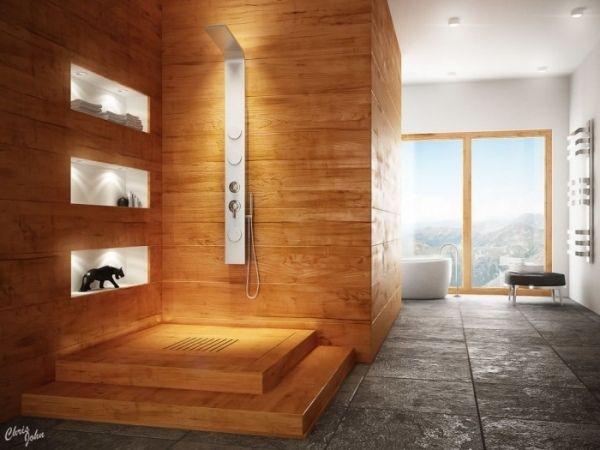 das moderne wellness badezimmer holzverkleidung steinboden | bad ...