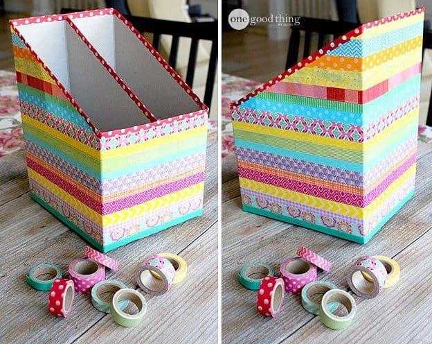 DIY Washi Tape Cereal Box Organizers · Jillee -   19 cardboard crafts organizers ideas