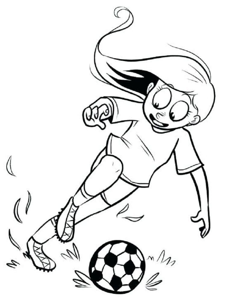 A Girl Playing Soccer Coloring Pages Coloring Pages For Kids