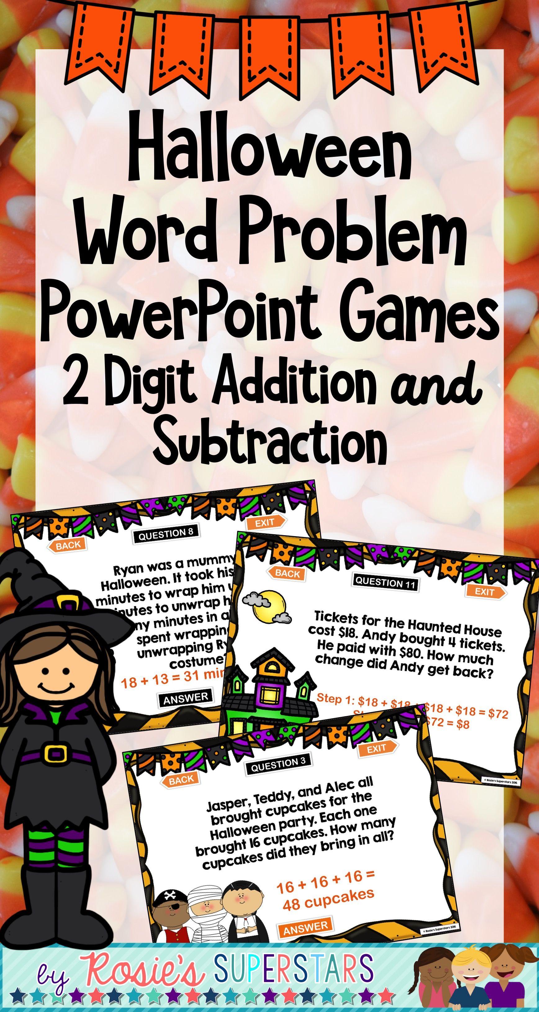 Halloween Word Problem Powerpoint Games 2 Digit Addition