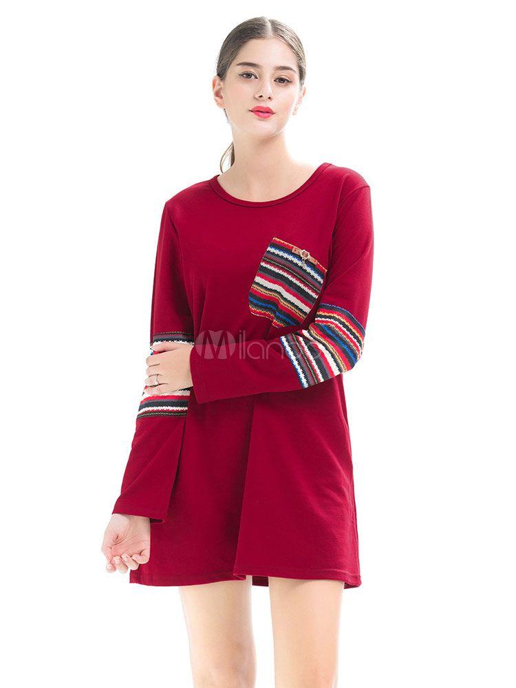3b9935a52d4 Long Sleeve T Shirt Dress Women Mini Dress Round Neck Striped Pockets Fall  Dress  Dress