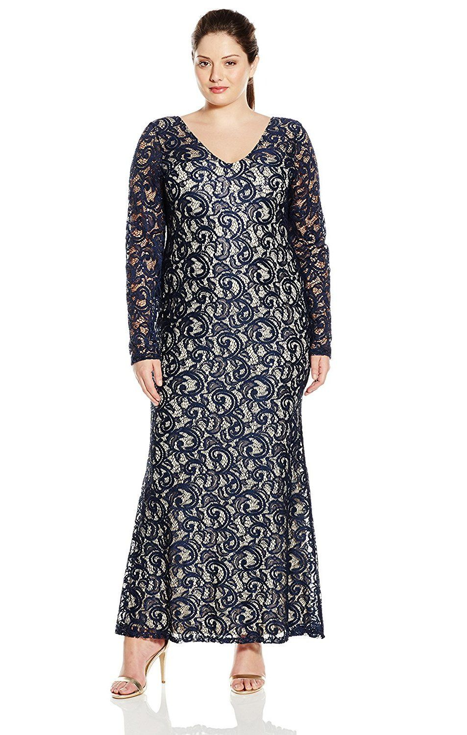 29d11c0bdbb Marina Womens PlusSize Lace Gown with Long Sleeve and V Front NavyNude      Check this awesome product by going to the link at the image.