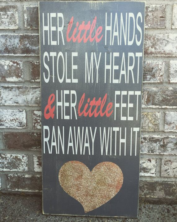 Her little Hands Custom Wood Sign  Baby Gifts  by RedRoanSigns