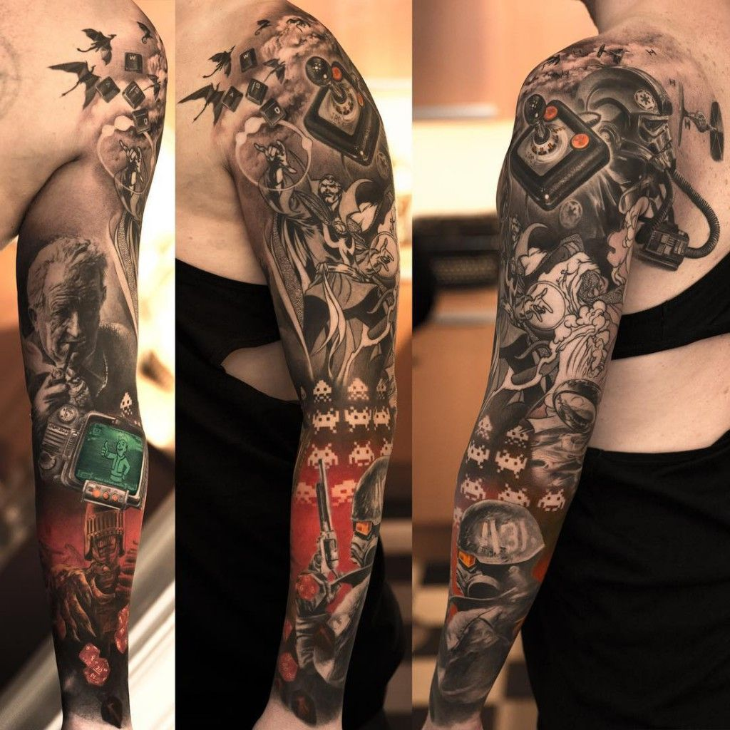 25 full sleeve tattoo ideas you 39 ll love forever game for Arm mural tattoos