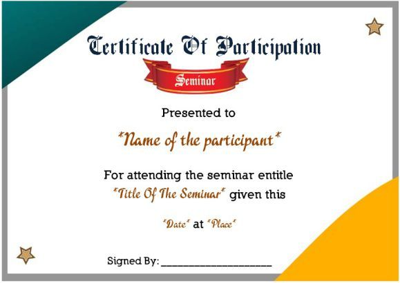Certificate Of Participation In Seminars  Sample Certificate Of