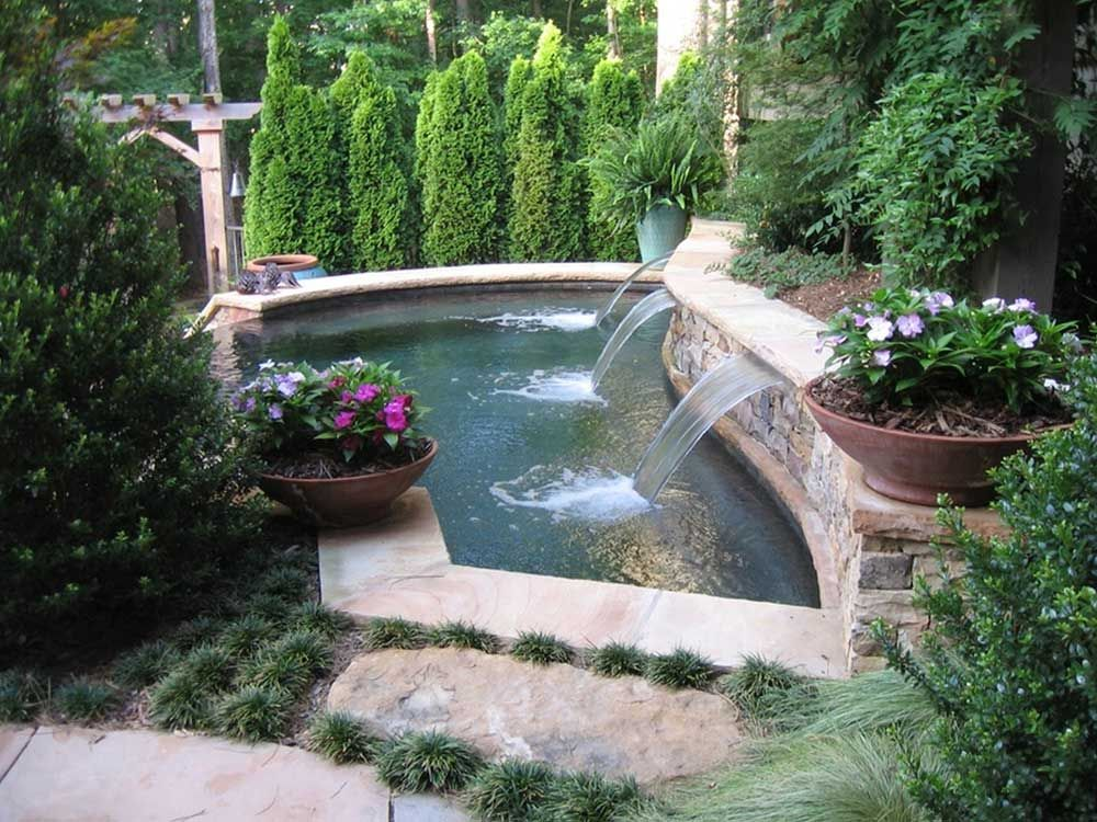 Pool Fountain Design Ideas with front yard landscape luxurious