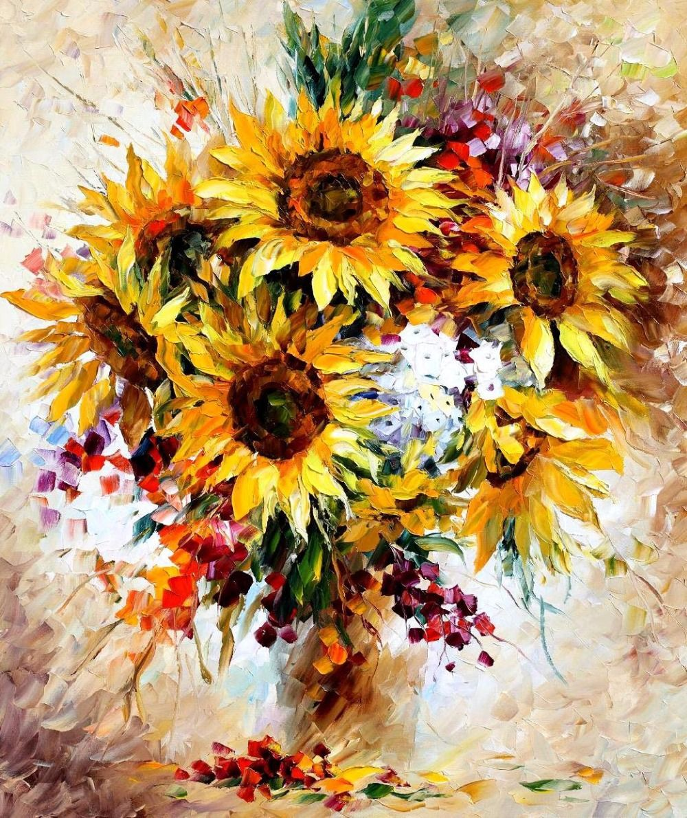 Modern-Wall-Art-on-canvas-sunflowers-II-palette-knife-oil-paintings ...