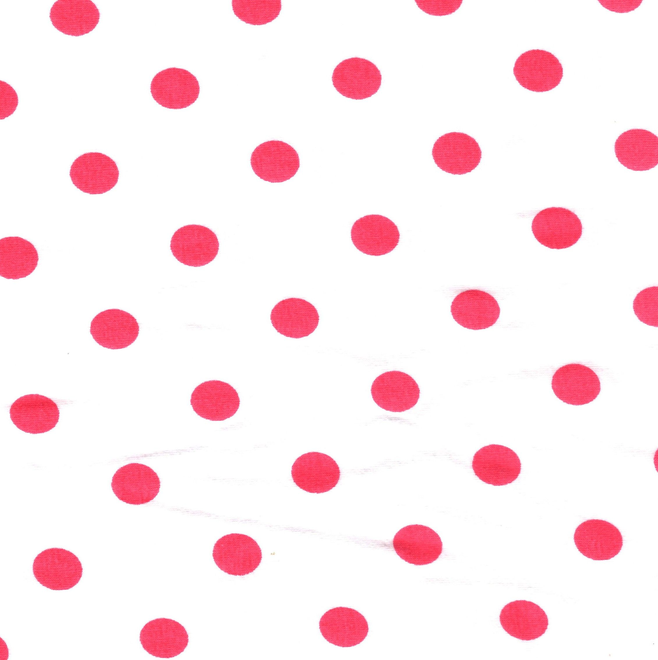 coral polka dots on white cotton lycra knit fabric