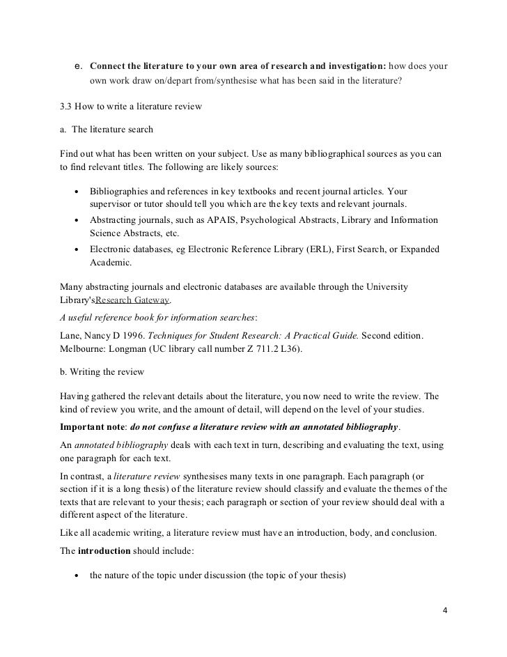 Dissertation proposal literature review