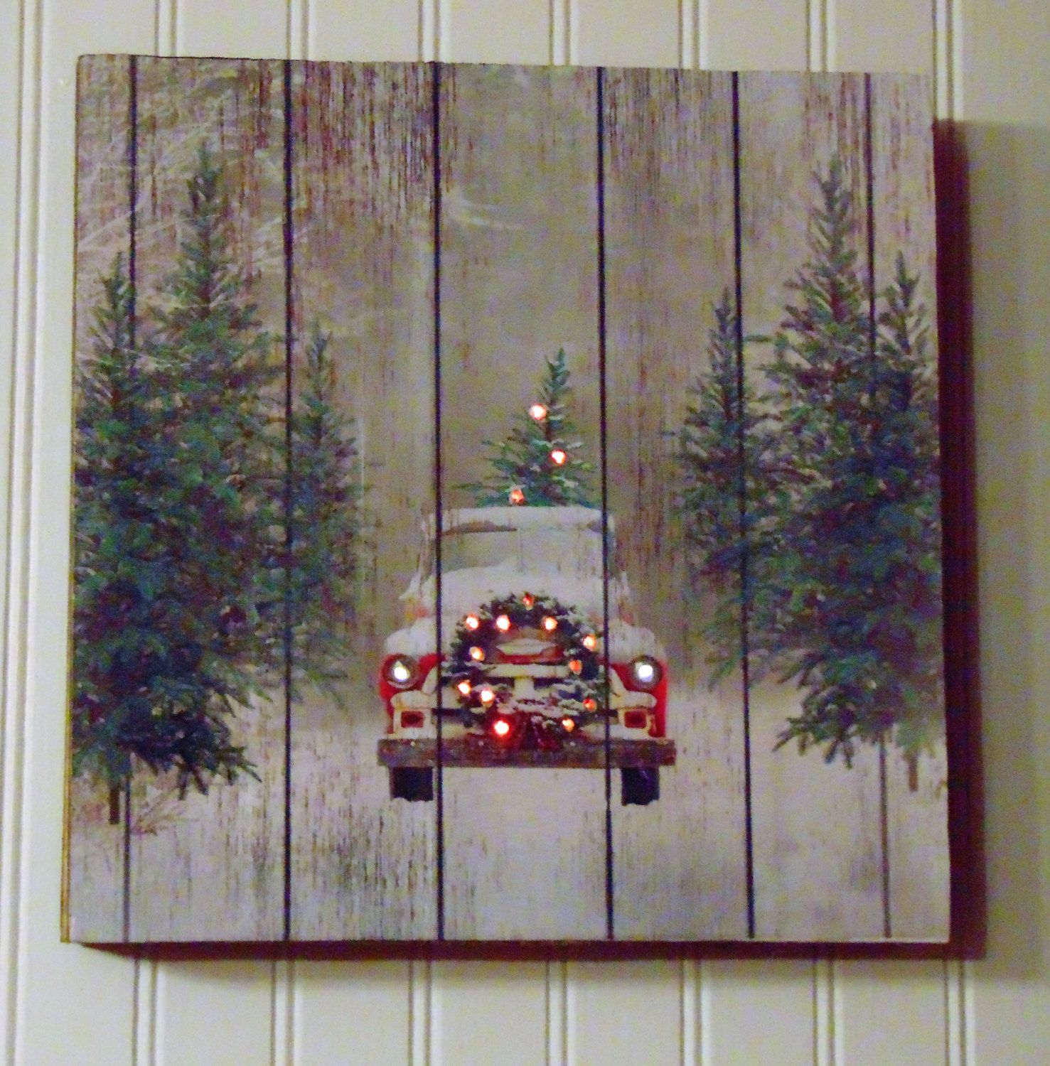 Wooden christmas tree truck box sign abstractos pinterest