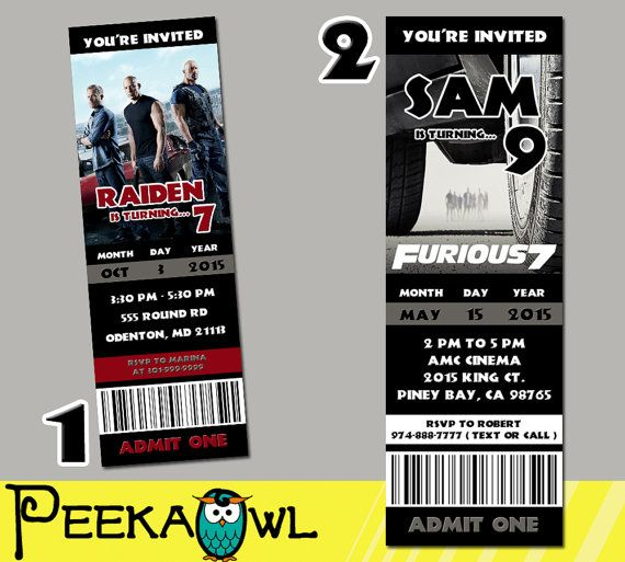 Printable Fast and furious 7 Movie Invitation Ticket by PeekaOwl - movie ticket invitations printable free