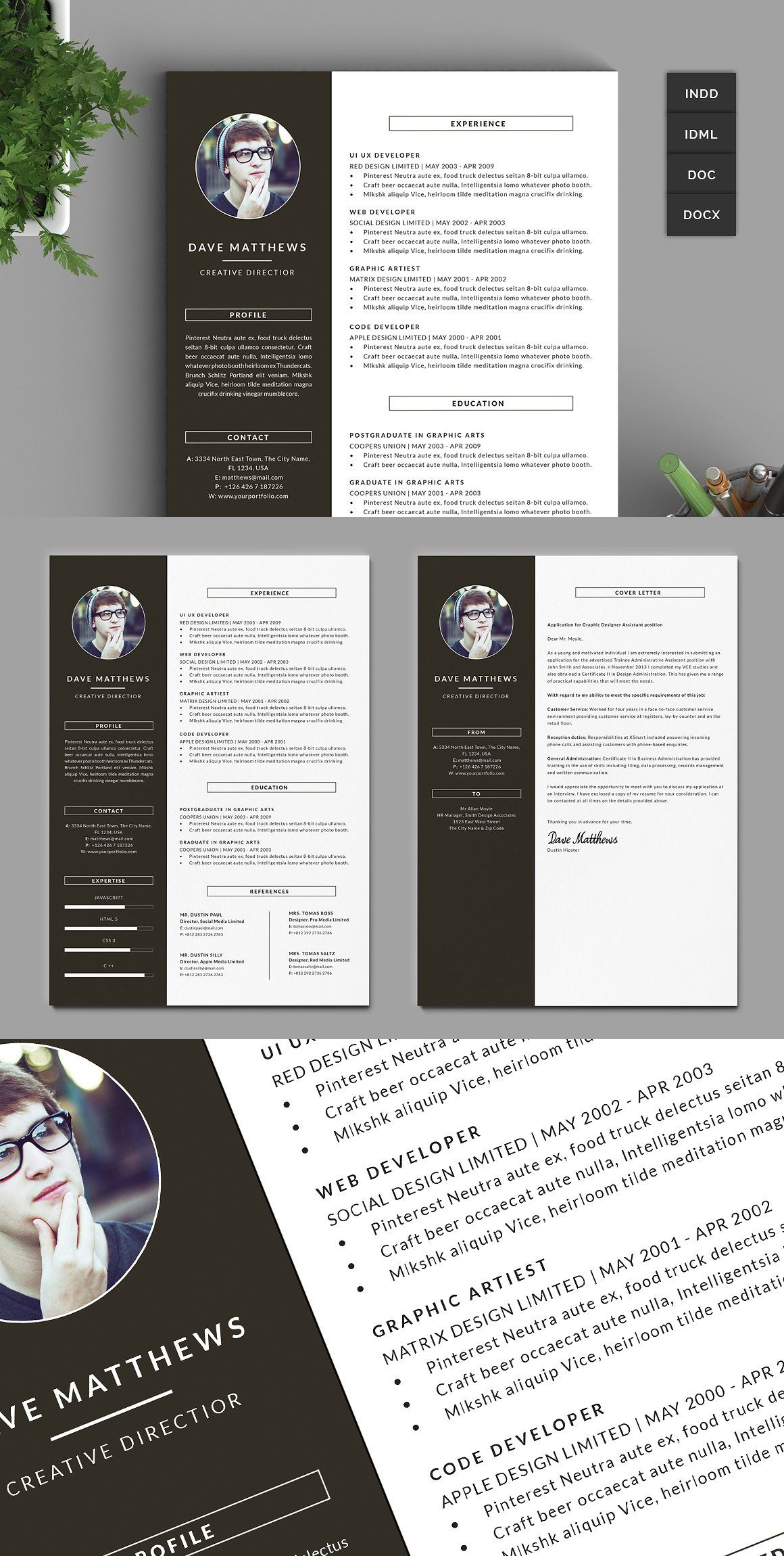 Hipster Resume Cv With Cover Letter Lettering Hipster Resume Cover Letter Template