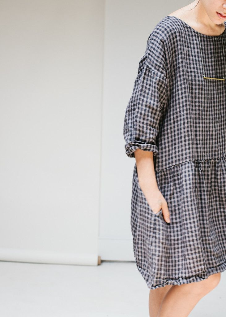 Aster Gathered Waist Dress - Charcoal Check