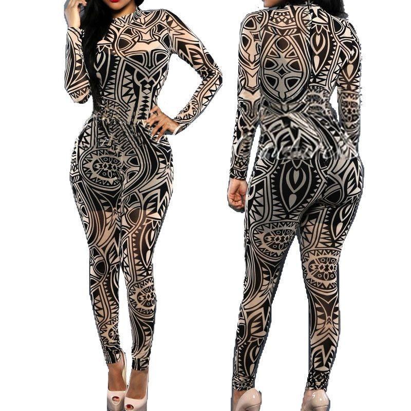 29120eda4cc54 XXXL Plus Size Women Tribal Tattoo Print Mesh Jumpsuit Romper Curvy African  Aztec Bodysuit Celebrity Catsuit Tracksuit Jumpsuit