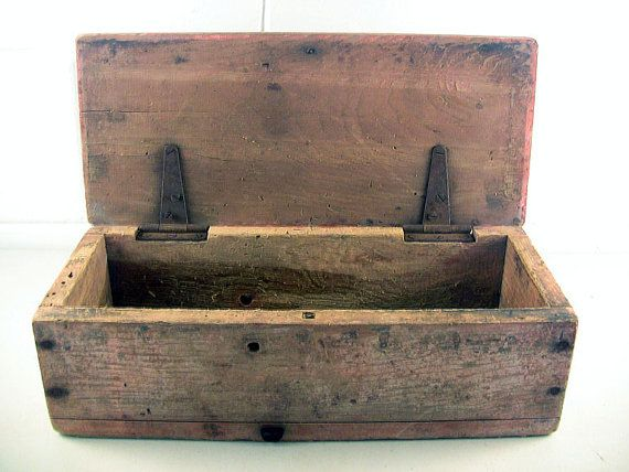 Fine Primitive Antique Wooden Box Hinged Lid Red Paint Tools Storage Utility Antique Wooden Boxes Small Wood Box Diy Wood Box