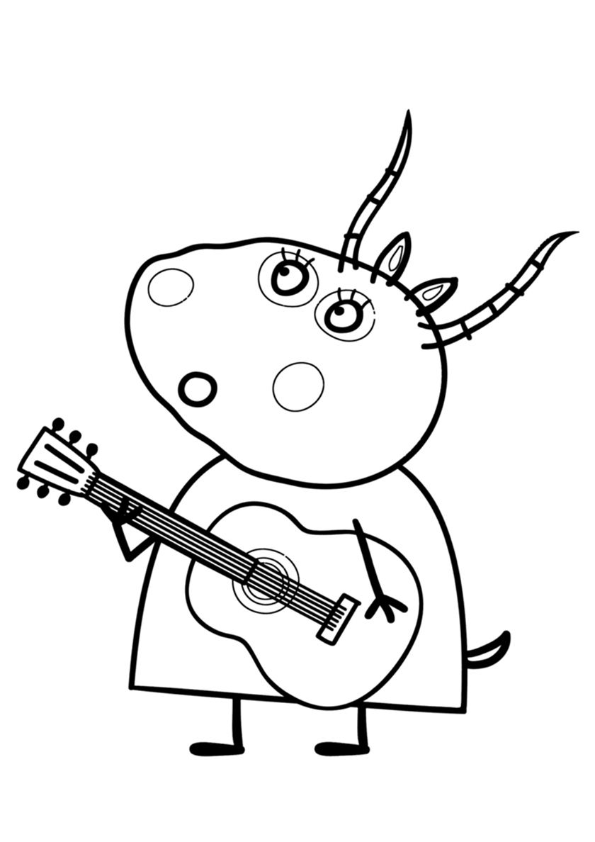 Madame Gazelle plays the guitar - high-quality free coloring from ...
