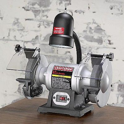 Craftsman 1 6 Hp 6 Bench Grinder With Lamp 21124 Bench Grinder Craftsman Benches Craftsman