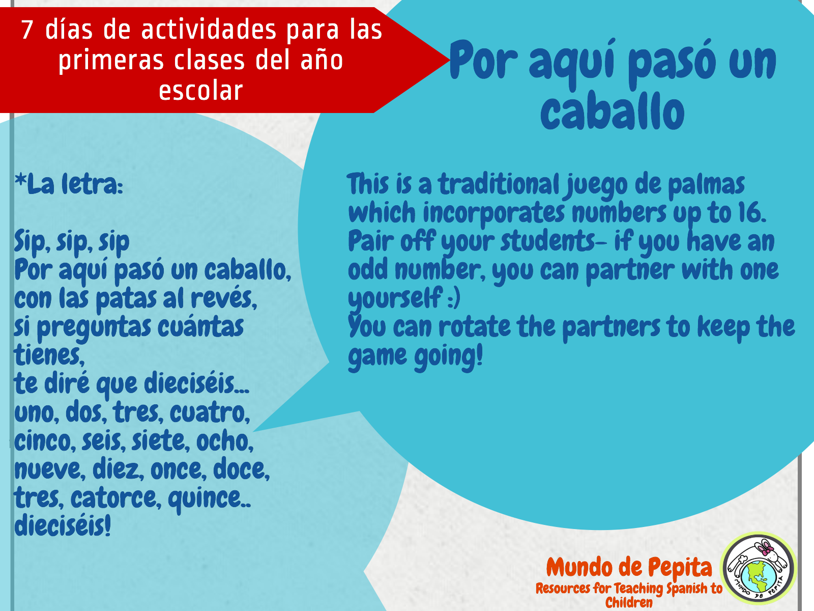 Activities for the First Days of School in Elementary Spanish Classes Back to School