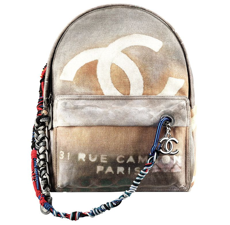 Chanel ss14 printed toile and leather backpack 39bce93afea27