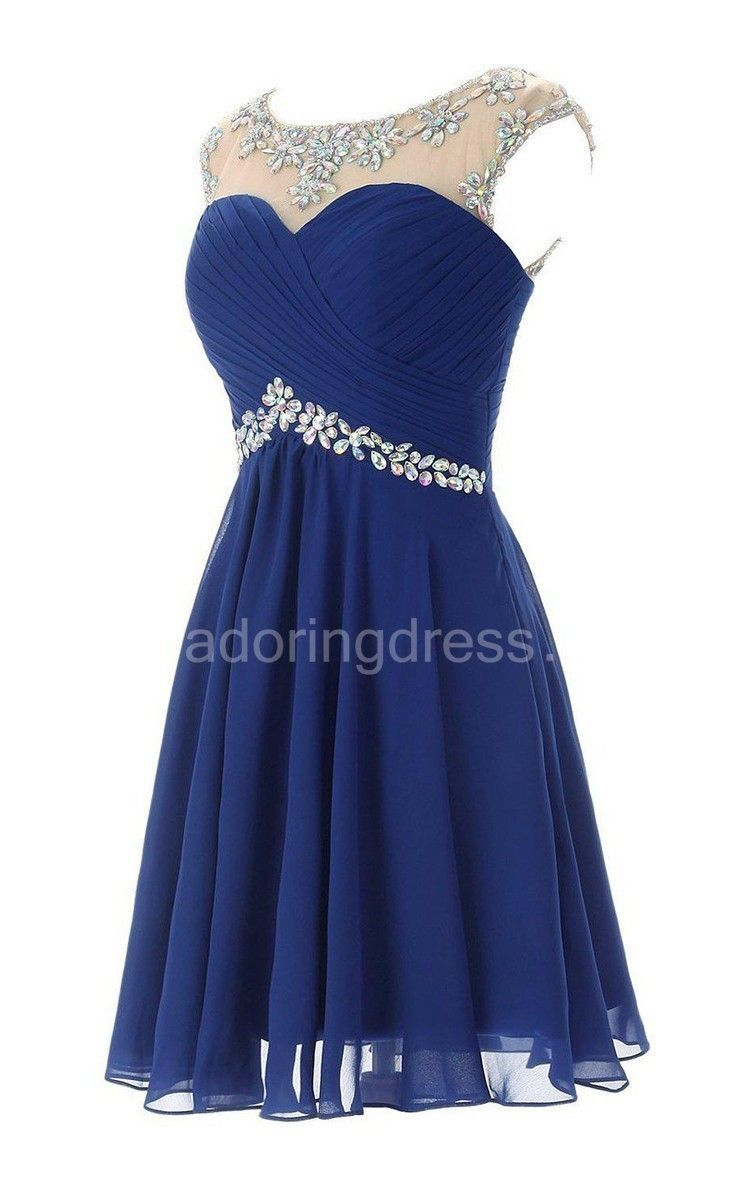 Usunique chiffon beaded blue homecoming dress and open back