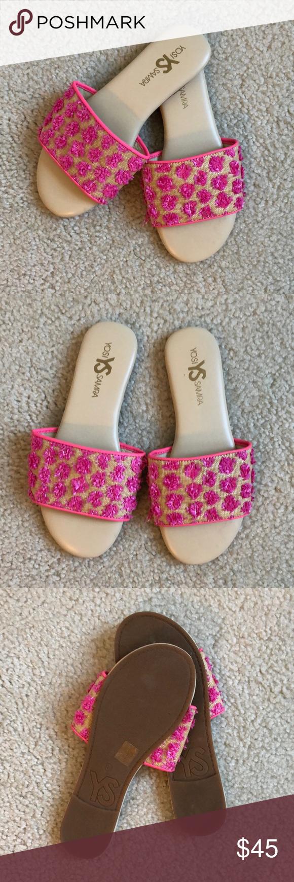 53c8335c9ac8 Yosi Samra Women s Reese Slide Sandals - Color  Pink Lemonade - Heel  measures approximately 0.5 inches