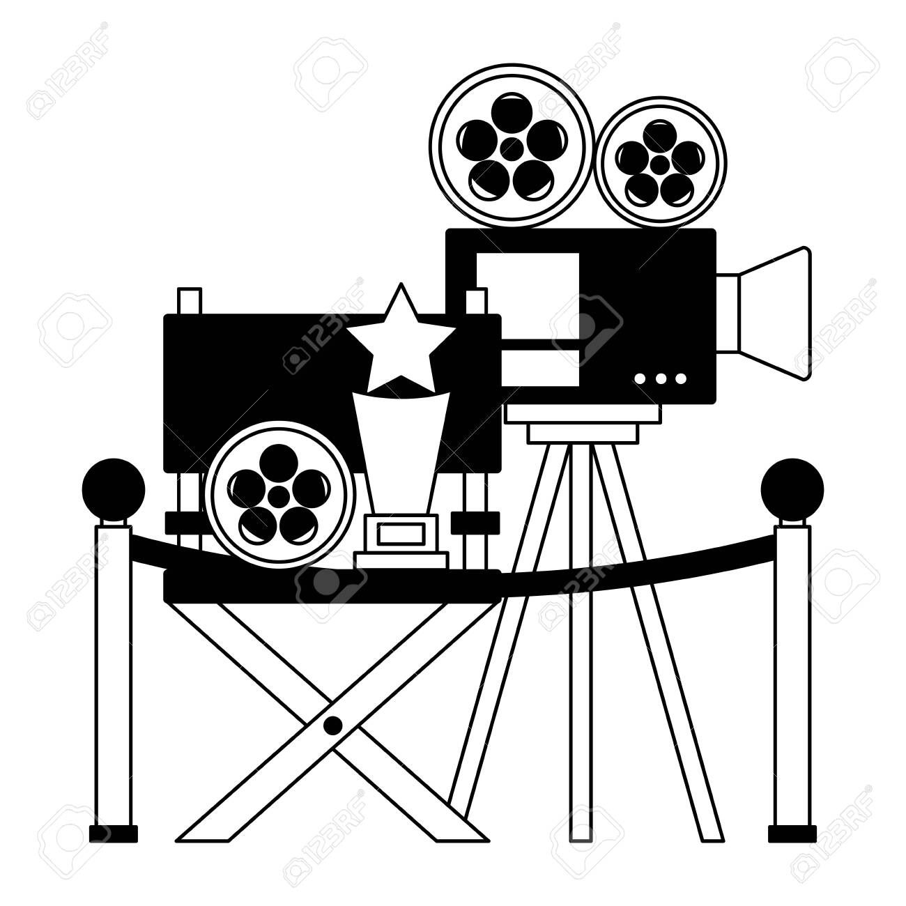 Cinema Movie Projector Chair Award Film Reel Vector Illustration Sponsored Projector Chai Graphic Illustration Graphic Design Logo Modern Graphic Design