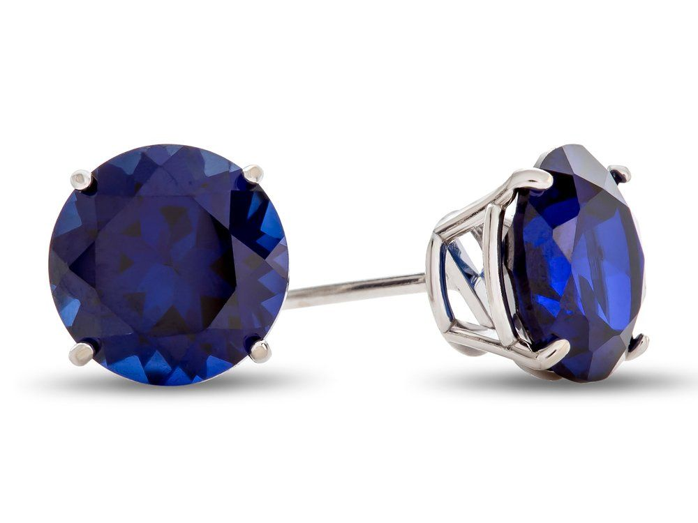 2.12 Ct Round Blue Sapphire 10K White Gold 4-prong Stud Earrings 6mm