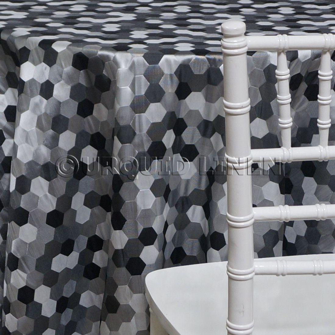 Metro Jacquard Tablecloth   Charcoal