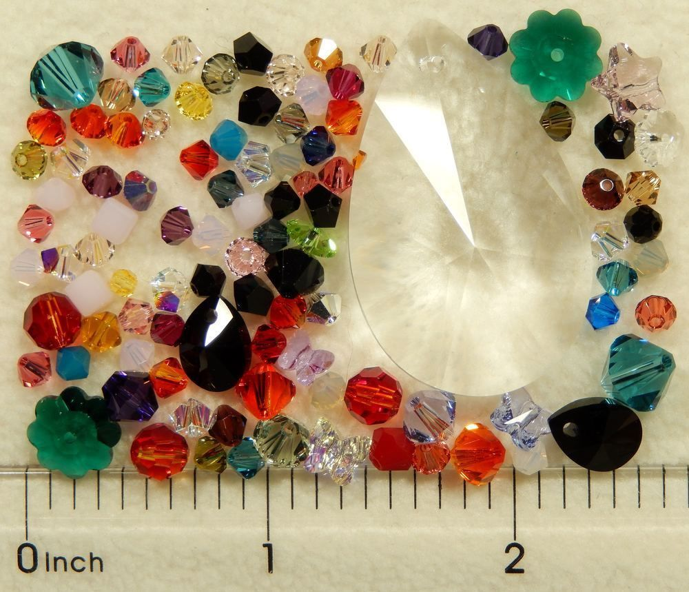 100 Assorted Swarovski Crystal Beads Clearance 37mm Teardrop Bicone Cube #Assorted