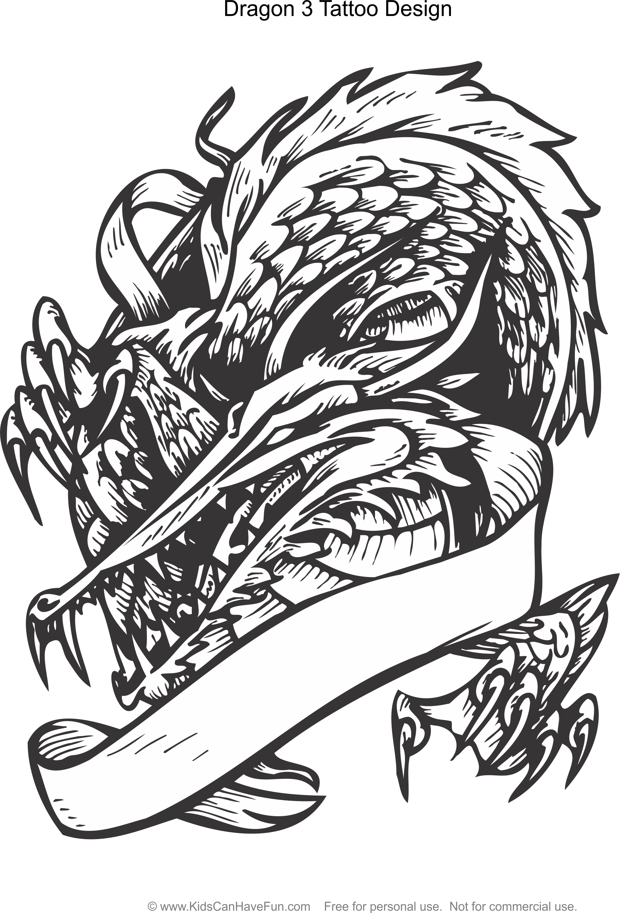 Dragon 3 Tattoo Design Coloring Page Kidscanhavefun