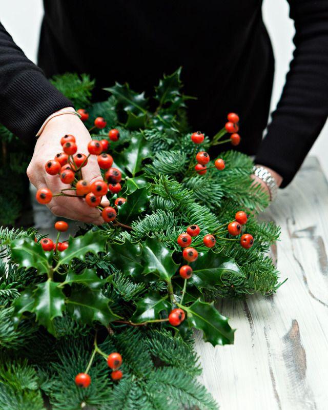 DIY-Christmas-Wreath-Step 2- Add the rosehips
