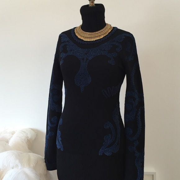 "Zac Posen Sweater Top Black stretchy sweater top with velvety blue motifs on front, back and sleeves. Beautiful design from an amazing designer label. Round neckline. 27"" sleeves, 15"" shoulder to shoulder, shoulder to hem 21"". Beautiful addition to a chic work wardrobe. Made in France. Zac Posen Sweaters"
