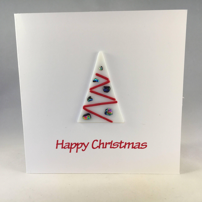 Fused Glass Christmas Card Christmas Tree Card Festive Tree