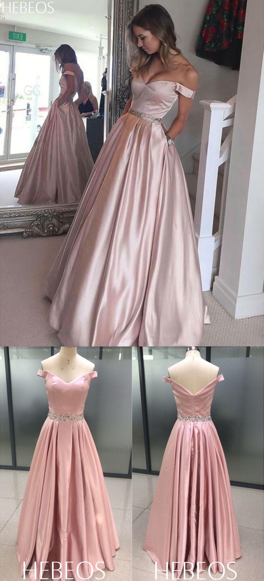 Hebeos aline offtheshoulder satin pink long prom dresses