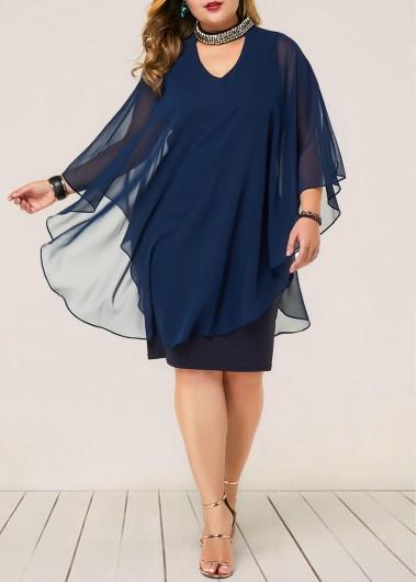 Plus Size Chiffon Overlay Embellished Neck Dress | liligal.com - USD $35.11 3