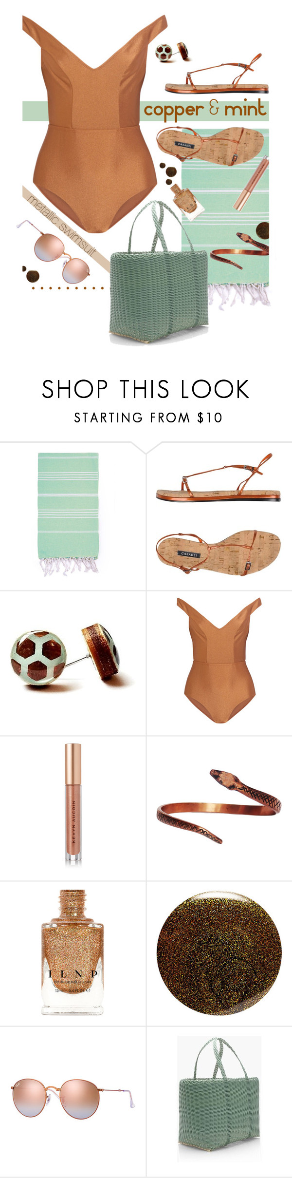 """Beautifully Bronzed."" by s-elle ❤ liked on Polyvore featuring Casadei, Zimmermann, Kevyn Aucoin, JINsoon, Ray-Ban, J.Crew and metallicswimwear"