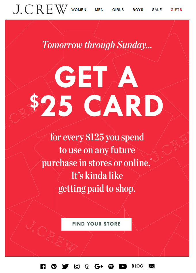 Jcrew Gift Card Email Ical Alert Get A 25 Card Exclusively In