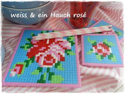 b gelperlen glasuntersetzer von wei ein hauch ros hama beads perler hama perler und. Black Bedroom Furniture Sets. Home Design Ideas