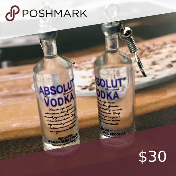 Absolut Vodka Bottle Alcohol Mini Earrings