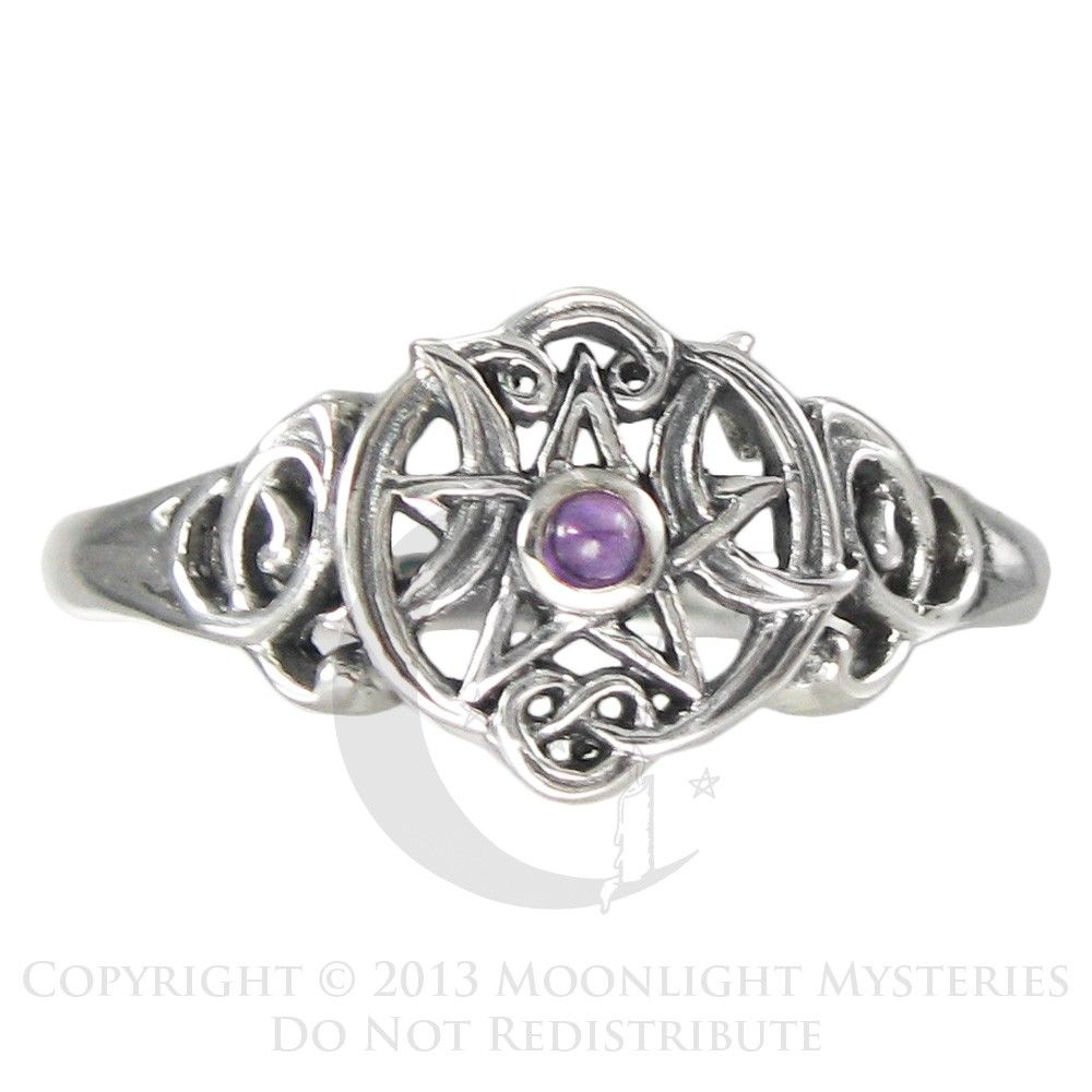 Details About Sterling Silver Heart Pentacle Pentagram Amethyst Ring Dryad  Design Wicca Pagan