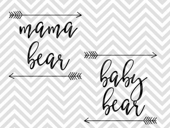 Mama Bear Baby Bear SVG file - Cut File - Cricut projects - cricut ideas - cricut explore - silhouette cameo projects - Silhouette projects  by KristinAmandaDesigns