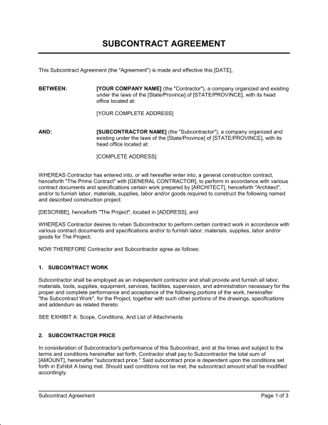Subcontractor Agreement  Template  Sample Form  BiztreeCom