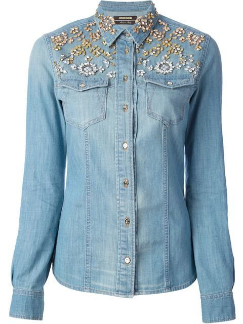 68035d1b2a Shop Roberto Cavalli crystal embellished denim shirt in Paola from the  world s best independent boutiques at farfetch.com. Over 1000 designers  from 300 ...