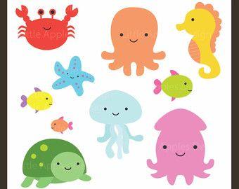 Kinderzimmer clipart  Sea Animal Clipart, Sea Animal Clip Art, Sea Creatures, Fish Clipart ...