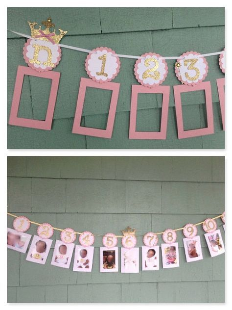 Princess Photo Banner in pink and gold. 12 month picture banner. First Birthday Garland. Custom Colors #fiestade15años